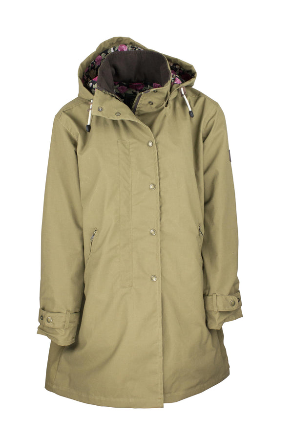 W08 - Ladies Brighton Staywax Parka - SAND - Oxford Blue