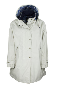 W08 - Ladies Brighton Staywax Parka - WHITE - Oxford Blue