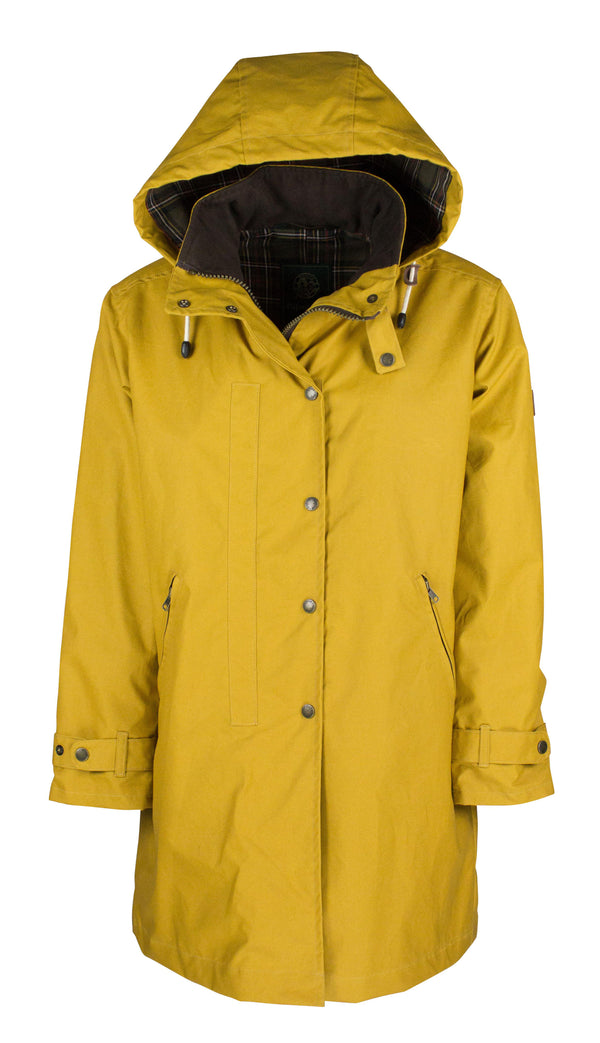 W08 - Ladies Brighton Staywax Millerain Parka - MUSTARD - Oxford Blue