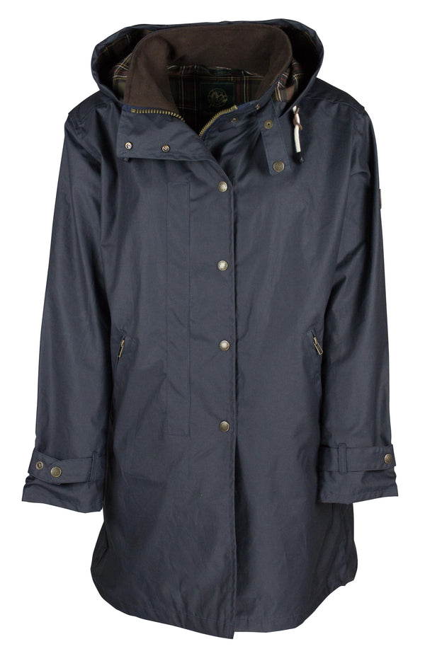 W08 - Ladies Brighton Staywax Millerain Parka - NAVY - Oxford Blue