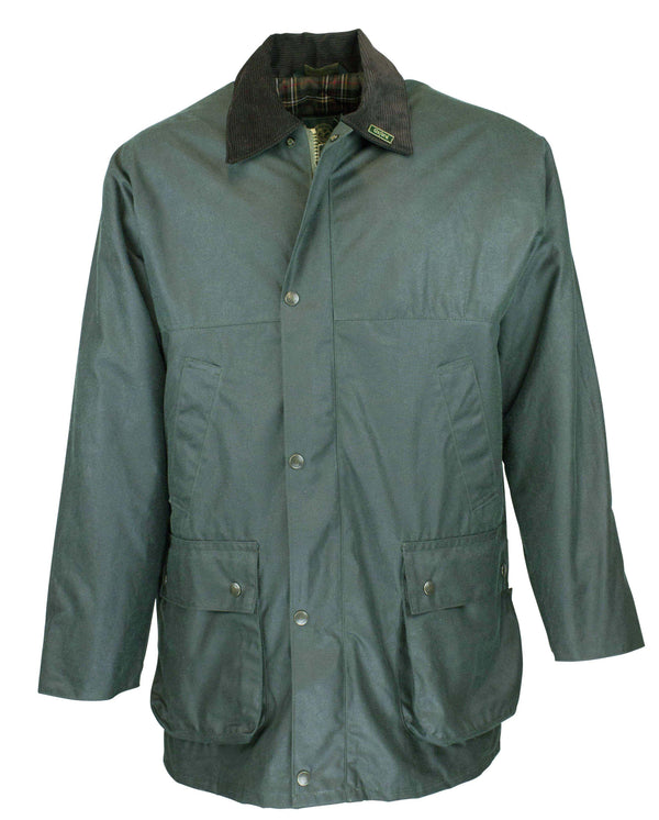 W14 - Men's Countryman Padded Wax Jacket - GREEN - Oxford Blue