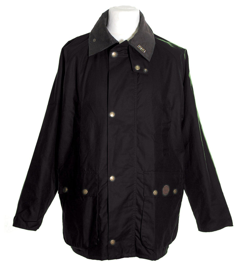 W10 - Burley Wax Jacket (Vented) - BLACK - Oxford Blue