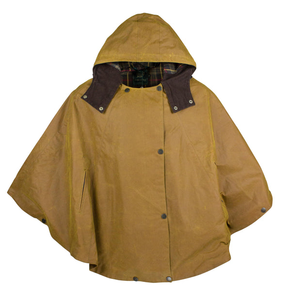 W11 - Ladies Waxed Hooded Cape - GOLD - Oxford Blue