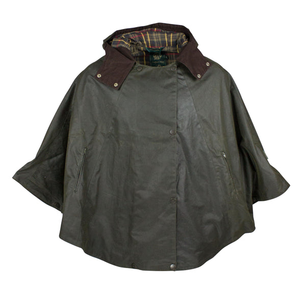 W11 - Ladies Waxed Hooded Cape - GREEN - Oxford Blue