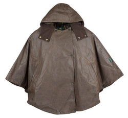 W11 - Ladies Waxed Hooded Cape - BROWN - Oxford Blue