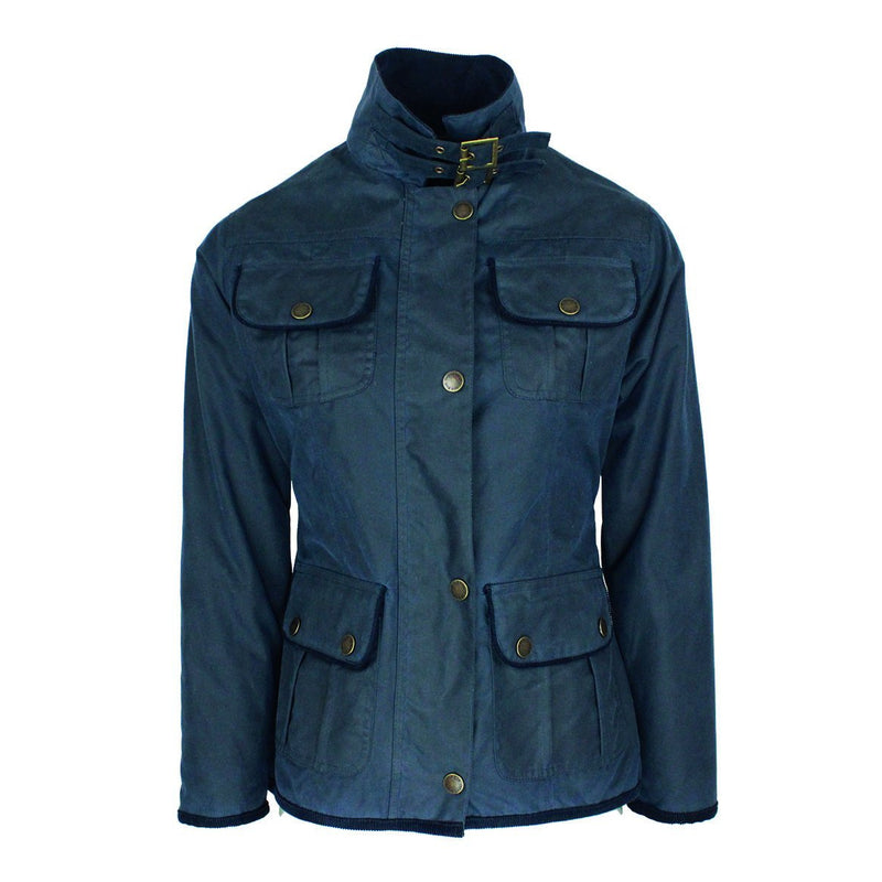 W111 - Women's Wax Biker Jacket - Oxford Blue