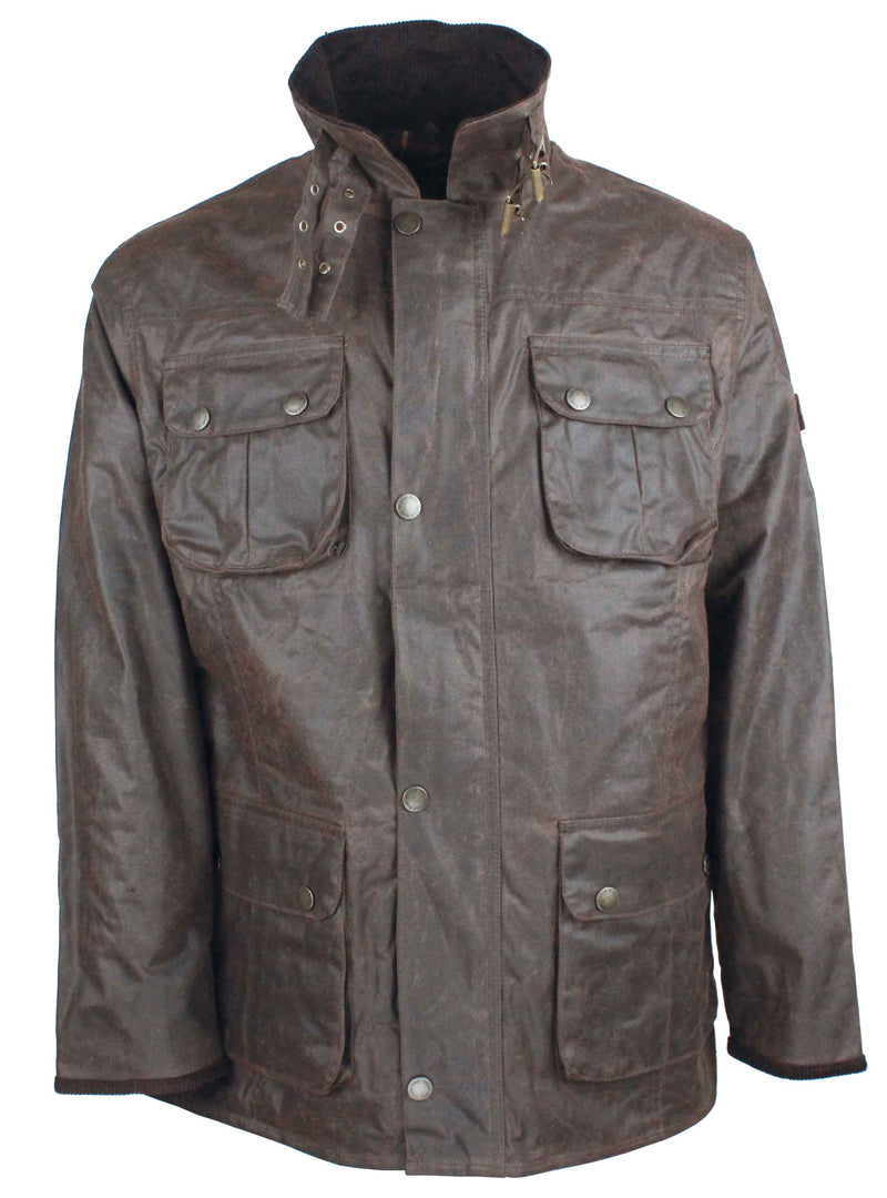 W113 - Mens Biker Wax Jacket - Oxford Blue