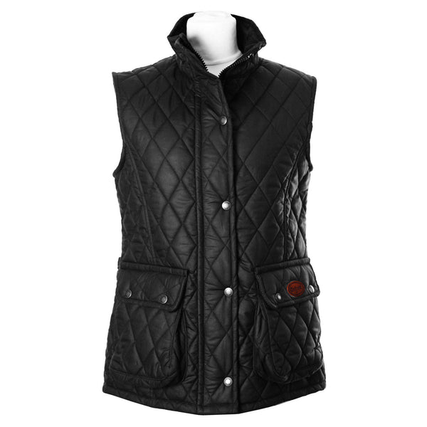 W12 - Women's Newbury Waxed Quilted Gilet - BLACK - Oxford Blue