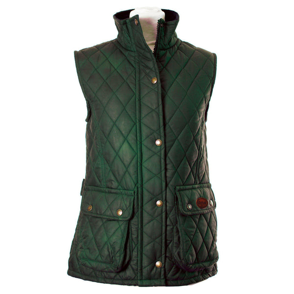 W12 - Women's Newbury Waxed Quilted Gilet - GREEN - Oxford Blue