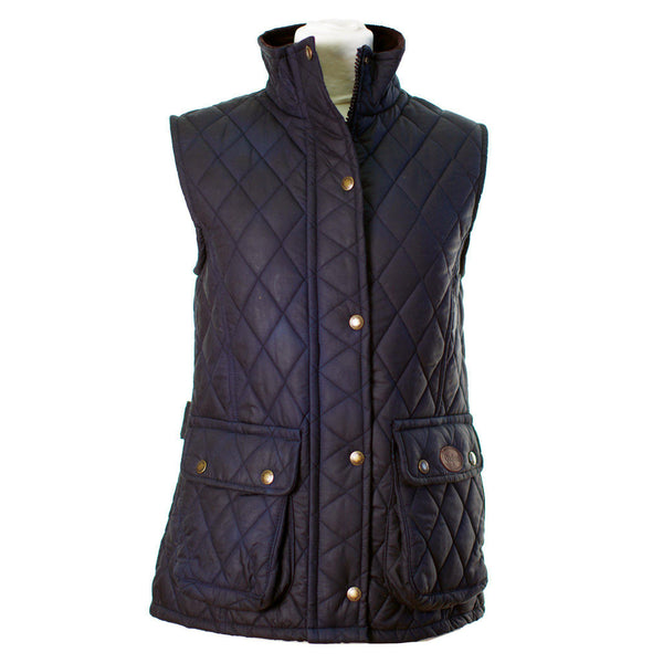 W12 - Women's Newbury Waxed Quilted Gilet - NAVY - Oxford Blue