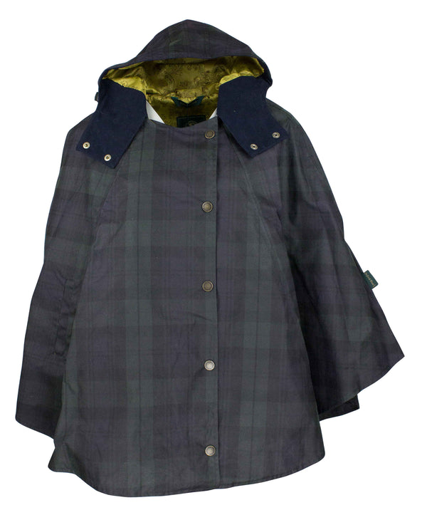 W16 - Ladies Tartan Wax Hooded Cape - Oxford Blue