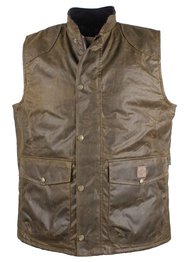W174 - Men's Antique Wax Chelsea Gilet - CARAMEL - Oxford Blue