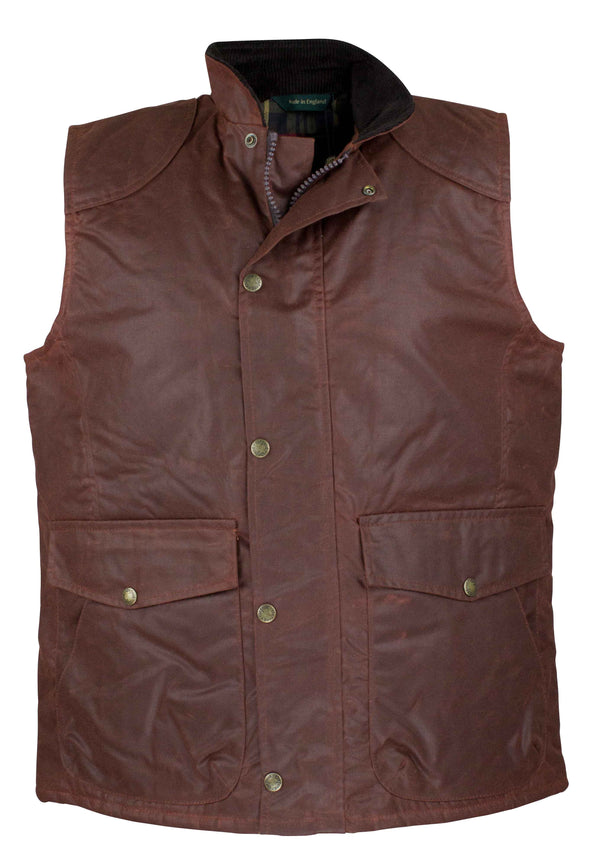 W174 - Men's Antique Wax Chelsea Gilet - CHESTNUT - Oxford Blue