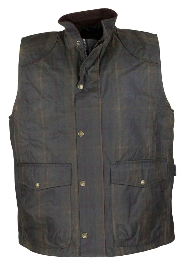 W175 - Men's Tartan Wax Chelsea Gilet - HONEY - Oxford Blue