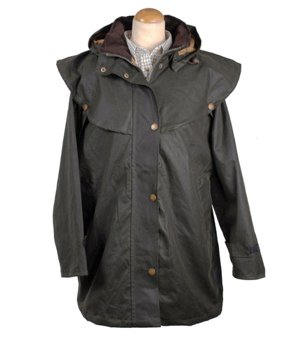 W19L - Ladies Wax Drover Coat with Hood
