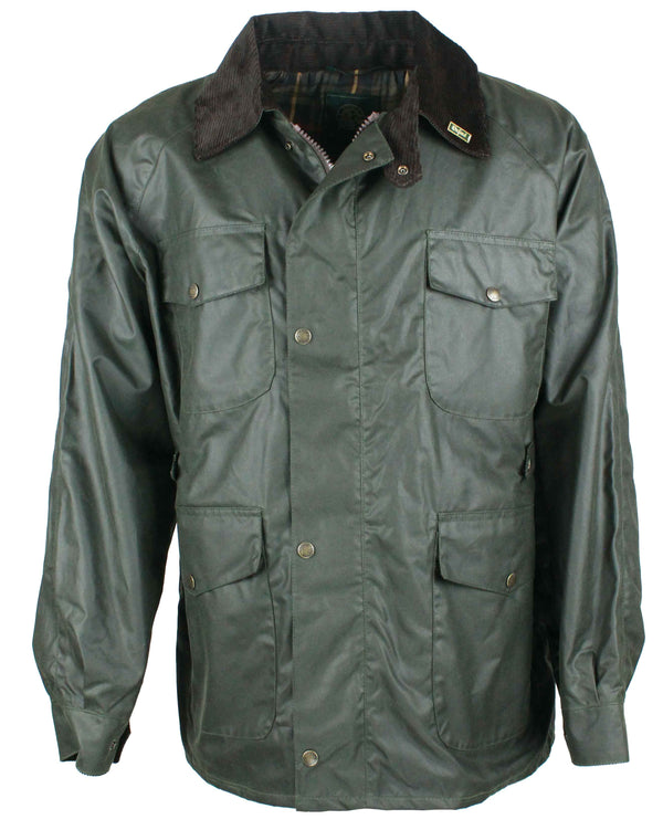 W20 - Men's Balmoral Wax Jacket - GREEN - Oxford Blue