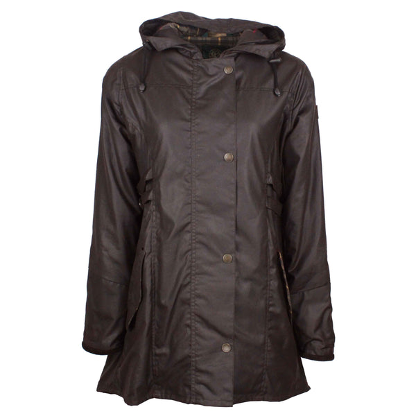 W218 - Womens Hooded Katrina Wax Jacket - BROWN - Oxford Blue