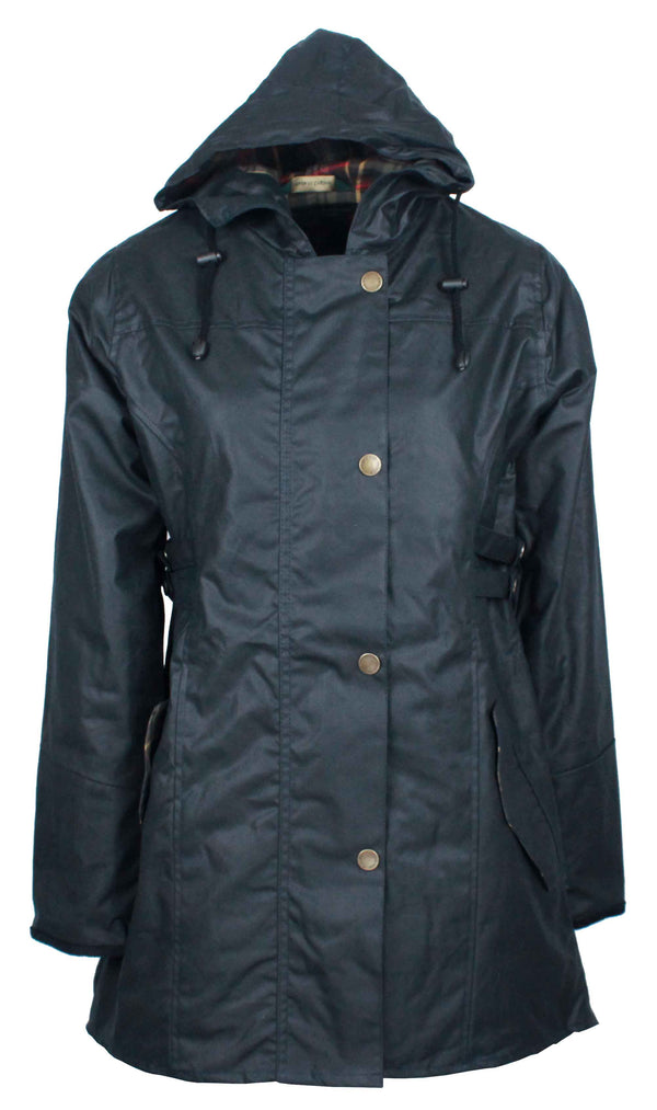 W218 - Womens Hooded Katrina Wax Jacket - NAVY - Oxford Blue