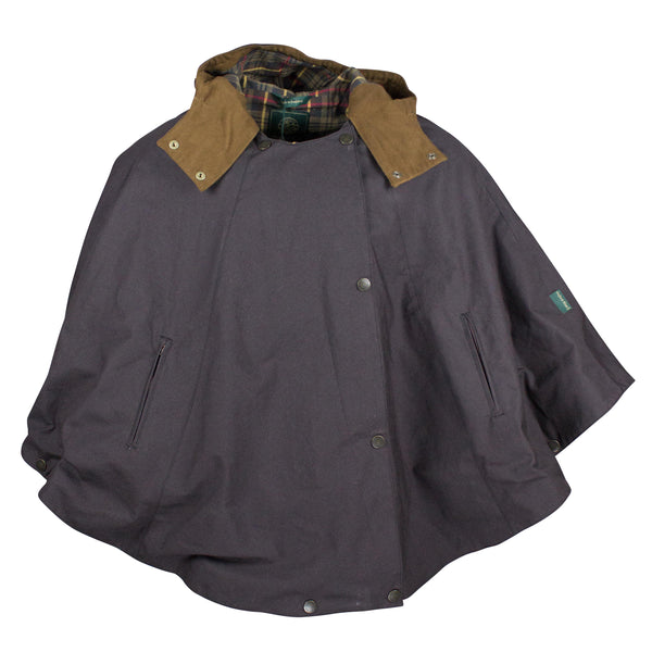 W22 - Ladies Cotton Hooded Cape - BROWN - Oxford Blue