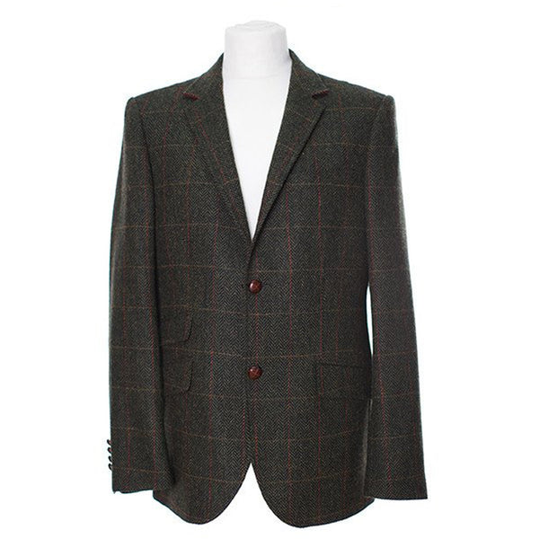 W222A - Men's Tweed Blazer Herringbone Tweed - Oxford Blue