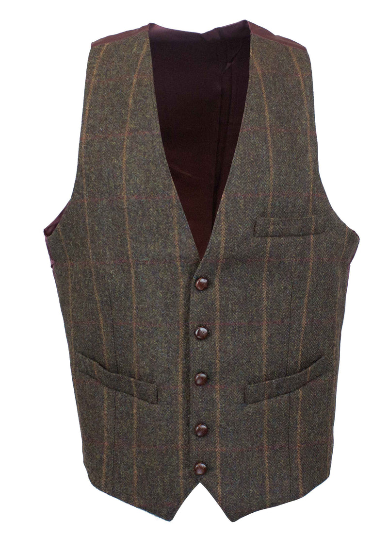 W225 - Balmoral Tweed Waistcoat (Basic) - BROWN CHECK - Oxford Blue