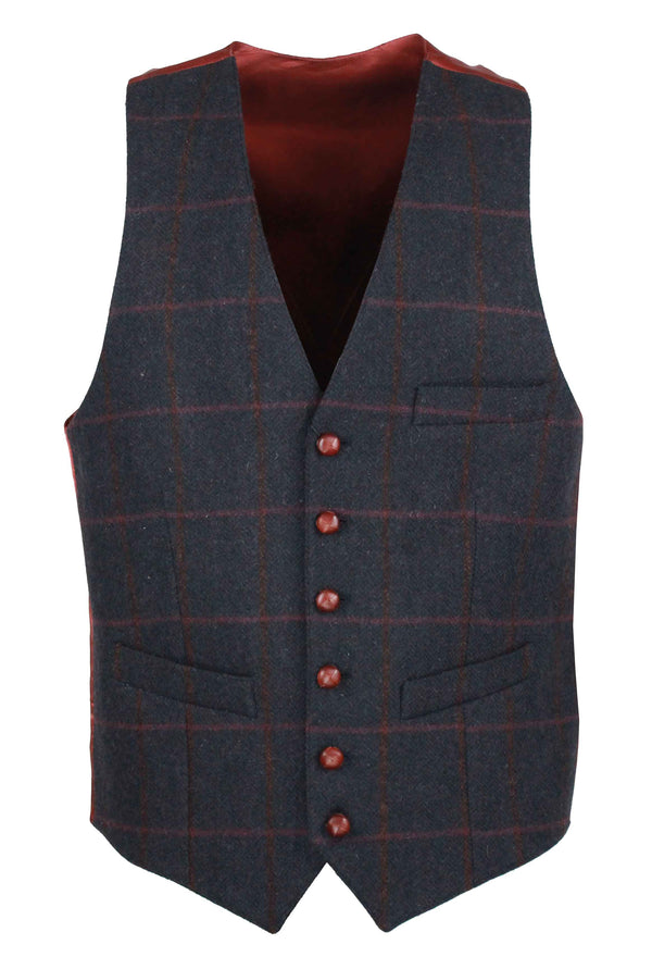 W225 - Balmoral Tweed Waistcoat (Basic) - NAVY CHECK - Oxford Blue