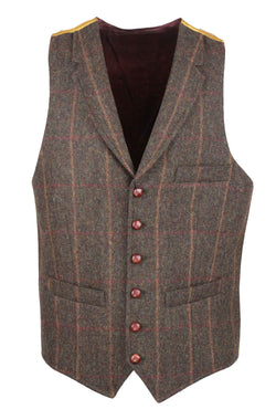 W226 - Conifer Tweed Waistcoat (Lapel) - BROWN CHECK - Oxford Blue