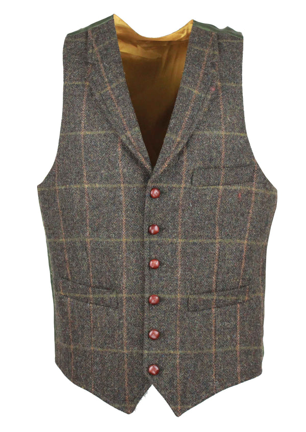 W226 - Conifer Tweed Waistcoat (Lapel) - GREEN CHECK - Oxford Blue