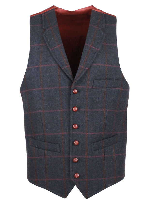 W226 - Conifer Tweed Waistcoat (Lapel) - NAVY CHECK - Oxford Blue