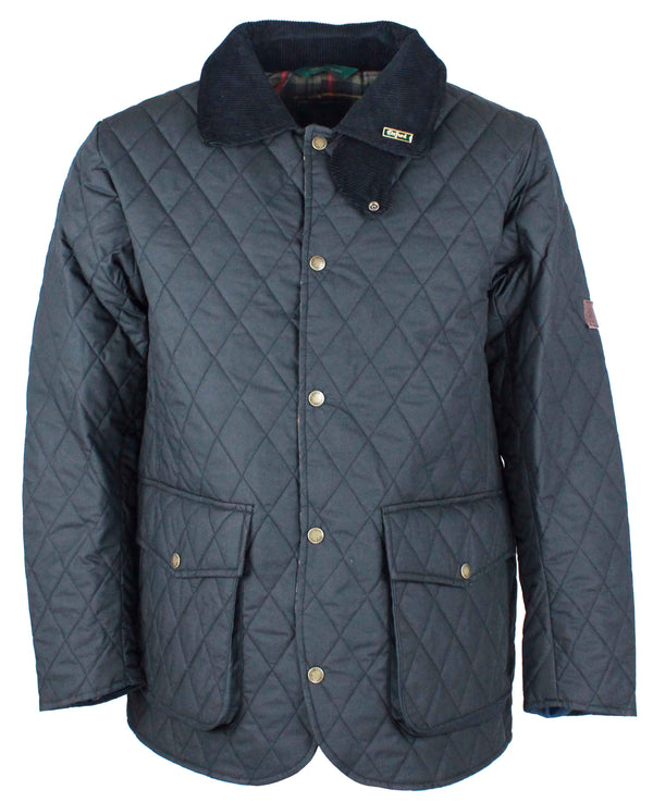 W25 - Quilted Mens Wax Jacket - NAVY - Oxford Blue
