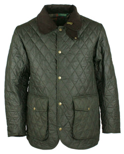 W25 - Quilted Mens Wax Jacket - GREEN - Oxford Blue