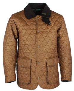 W25 - Quilted Mens Wax Jacket - SAND - Oxford Blue