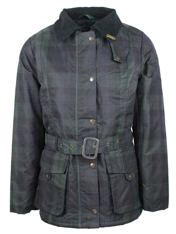 W306 - Womens Tartan Kensington Wax Jacket - BLACKWATCH - Oxford Blue