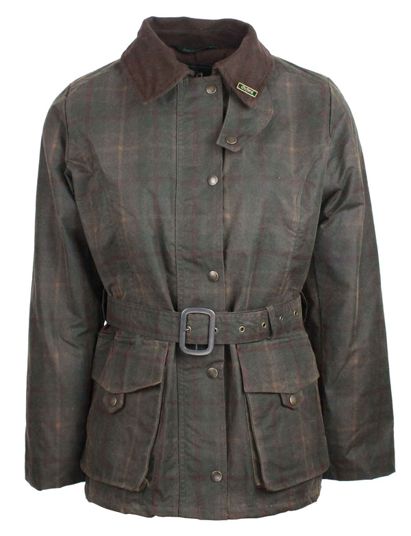 W306 - Womens Tartan Kensington Wax Jacket - HONEY - Oxford Blue