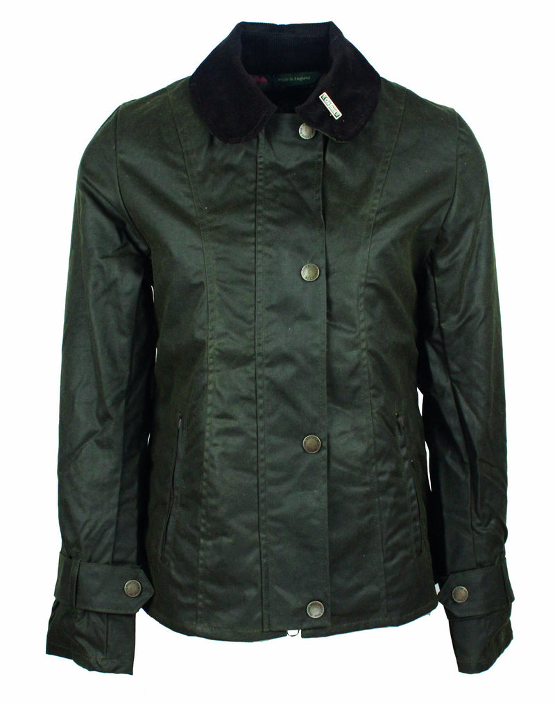 W308 - Women's Ambre Wax Jacket - GREEN - Oxford Blue