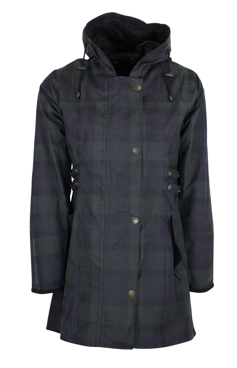W315 - Women's Wax Tartan Hooded Katrina - BLACKWATCH - Oxford Blue