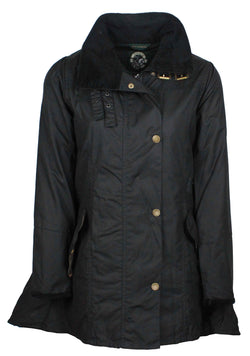 W47 - Women's Katrina Waxed Jacket - BLACK - Oxford Blue