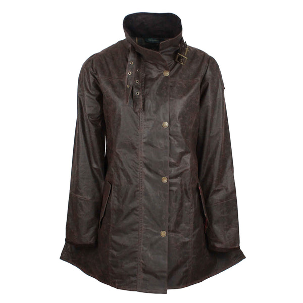 W47 - Women's Katrina Waxed Jacket - BROWN - Oxford Blue