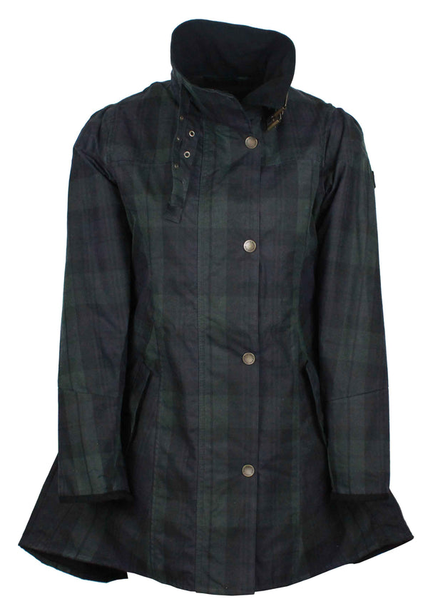 W49 - Women's Katrina Tartan Waxed Jacket - BLACKWATCH - Oxford Blue