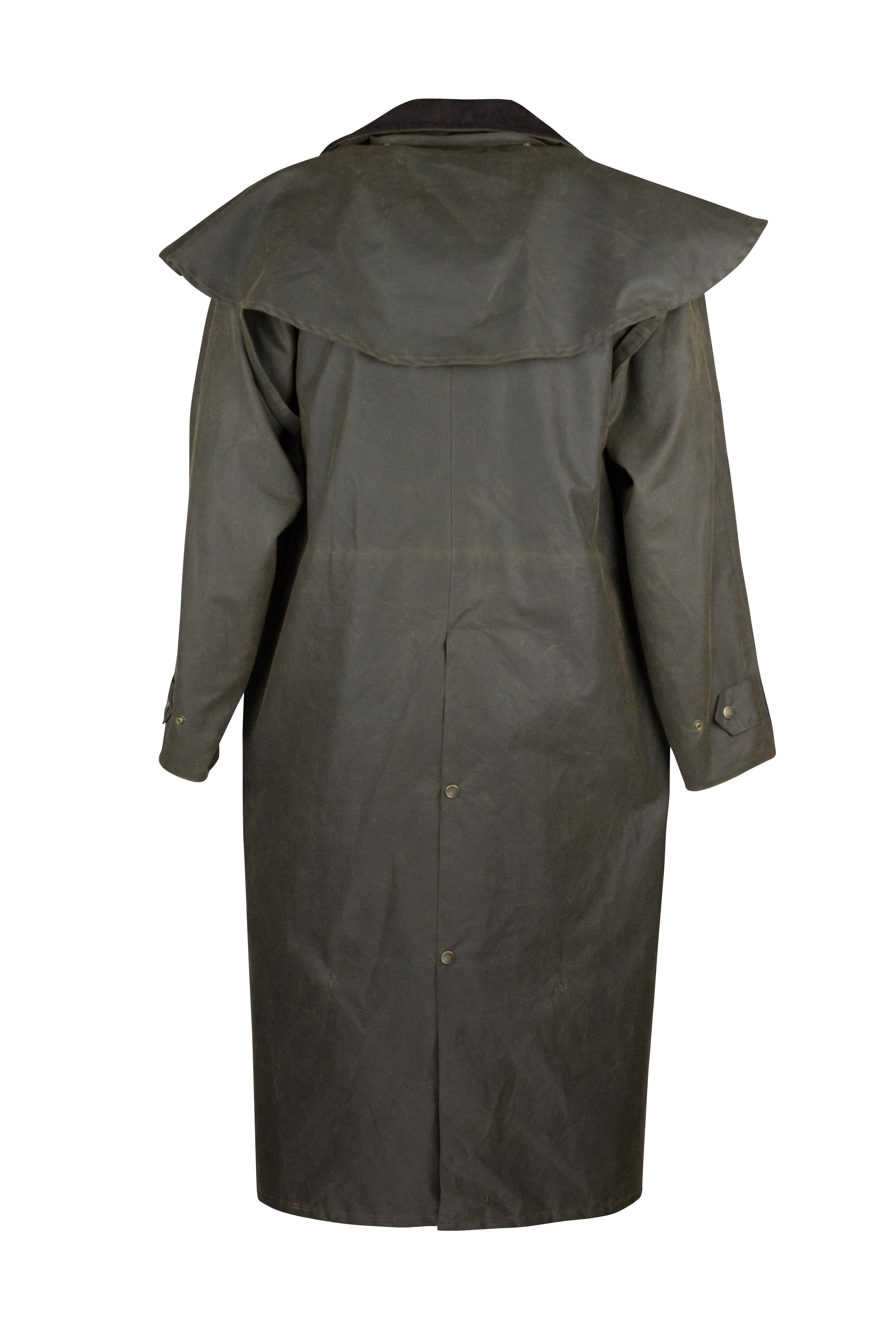 W70 - Deluxe Wax Outback Cape - DARK OLIVE - Oxford Blue