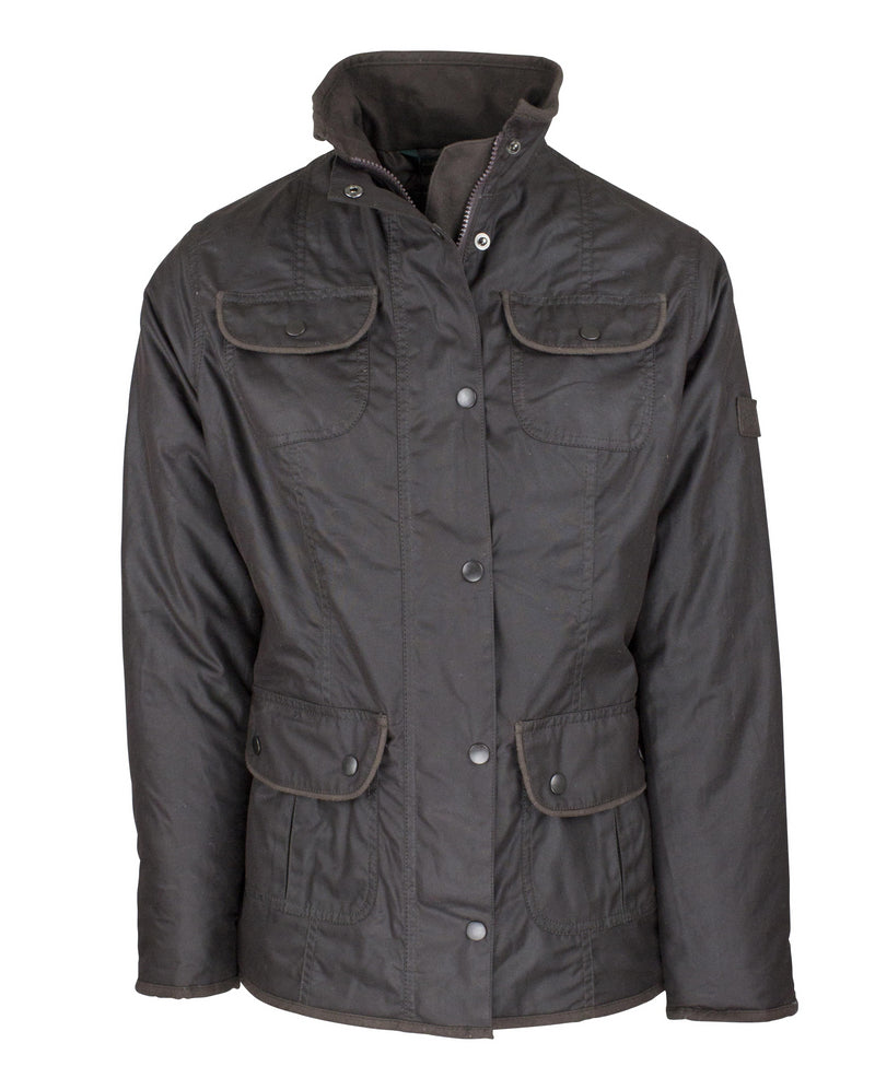 W89 - Women's Utility Wax Jacket - BROWN - Oxford Blue