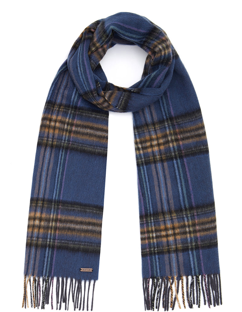 hortons check scarf - blue
