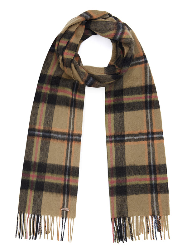 Country Check Scarf - Black/Khaki Check