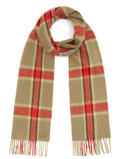 Country Check Scarf - Green/Red Check - Oxford Blue
