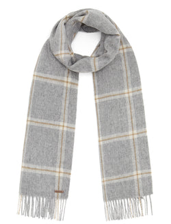 Country Check Scarf - Grey - Oxford Blue