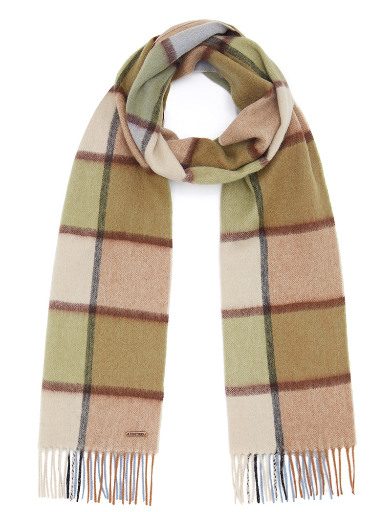 Country Check Scarf - Beige/Khaki Check - Oxford Blue