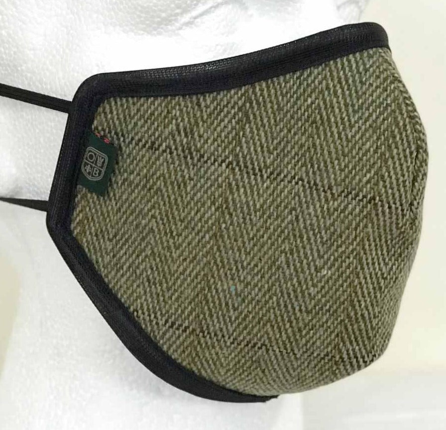 FM01 - Mix Wool Tweed Face Mask - SAGE (5433/21) - Oxford Blue