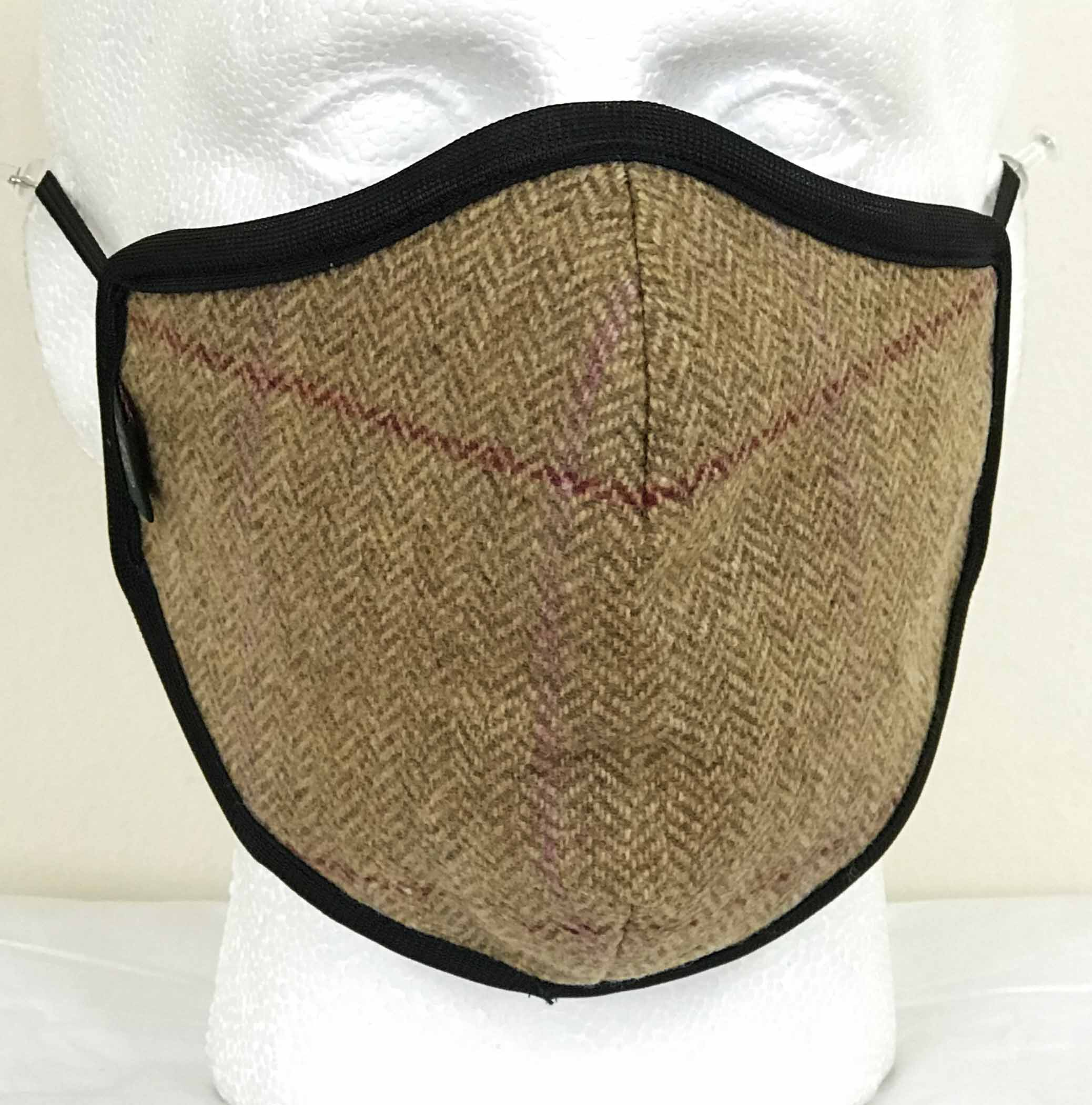 FM04 - Wool Face Mask - BISCUIT - Oxford Blue