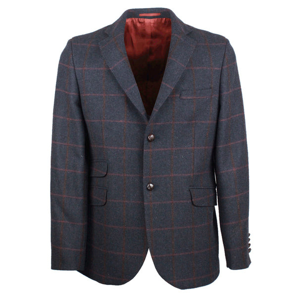 W222 - Men's Tweed Blazer - NAVY CHECK - Oxford Blue