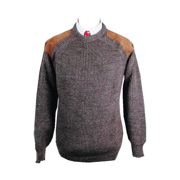 K19 - Men's Crew Neck Jumper - BROWN - Oxford Blue